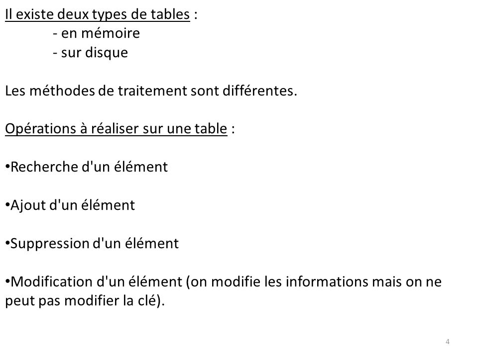 Il existe deux types de tables :