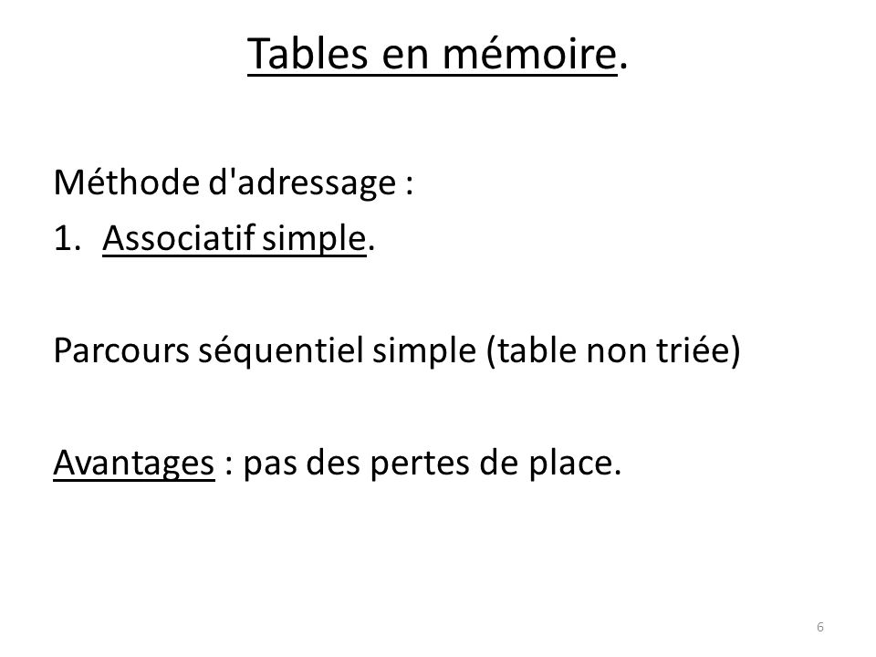 Tables en mémoire. Méthode d adressage : Associatif simple.