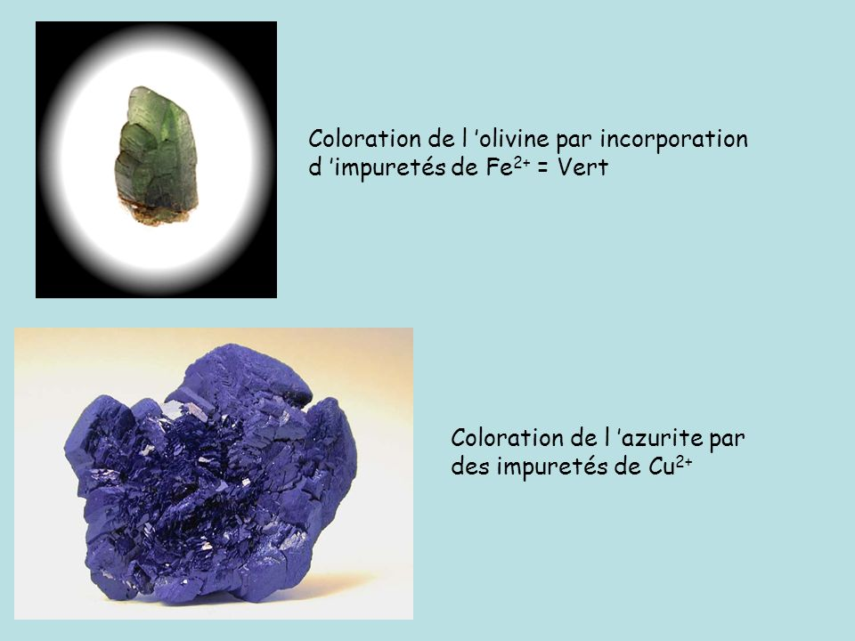 Coloration de l 'olivine par incorporation