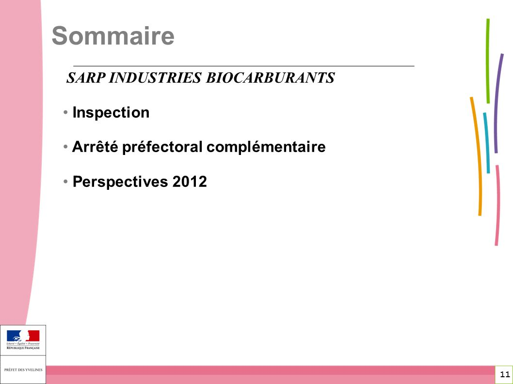 Sommaire SARP INDUSTRIES BIOCARBURANTS Inspection