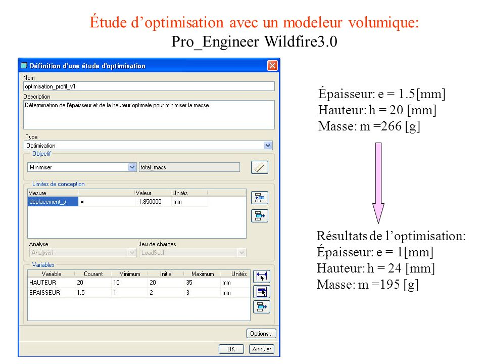 Étude d'optimisation avec un modeleur volumique: Pro_Engineer Wildfire3.0