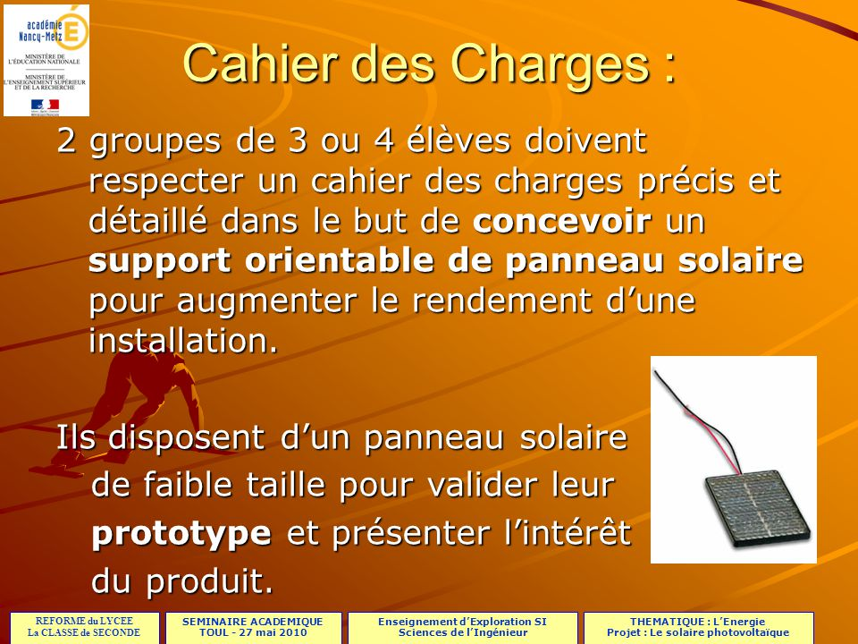 Cahier des Charges :