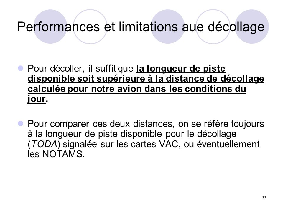 Performances et limitations aue décollage