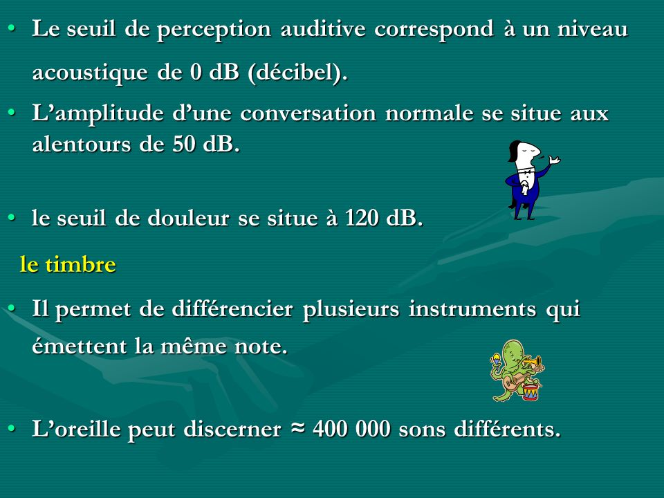 Le seuil de perception auditive correspond à un niveau acoustique de 0 dB (décibel).