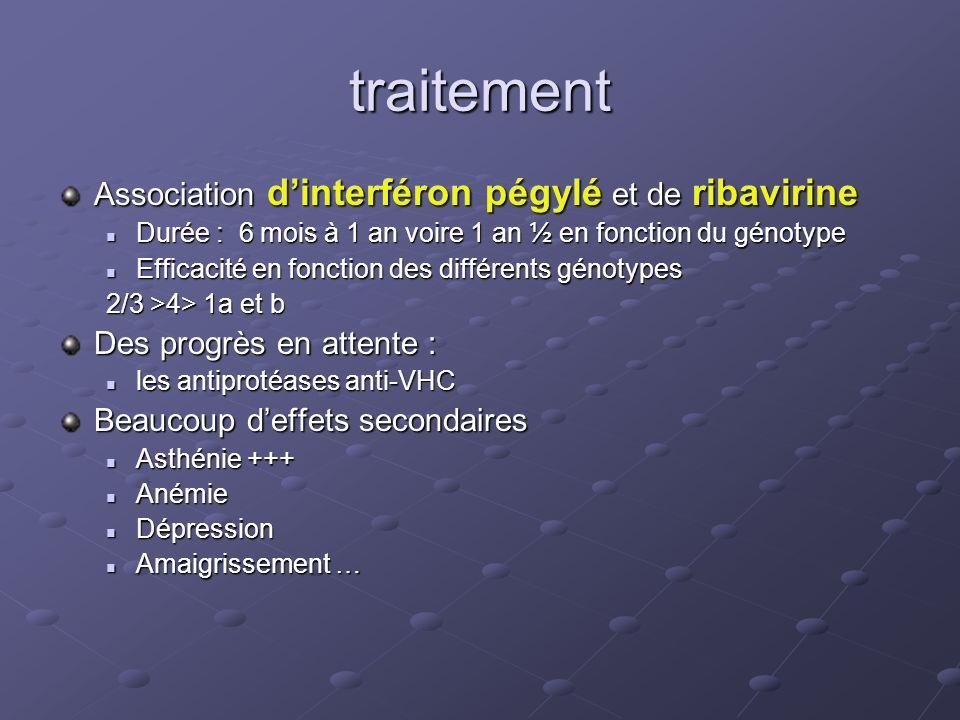 traitement Association d'interféron pégylé et de ribavirine