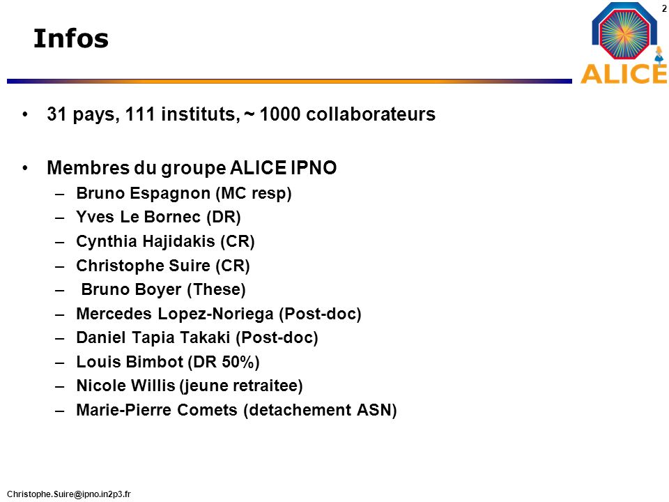 Infos 31 pays, 111 instituts, ~ 1000 collaborateurs
