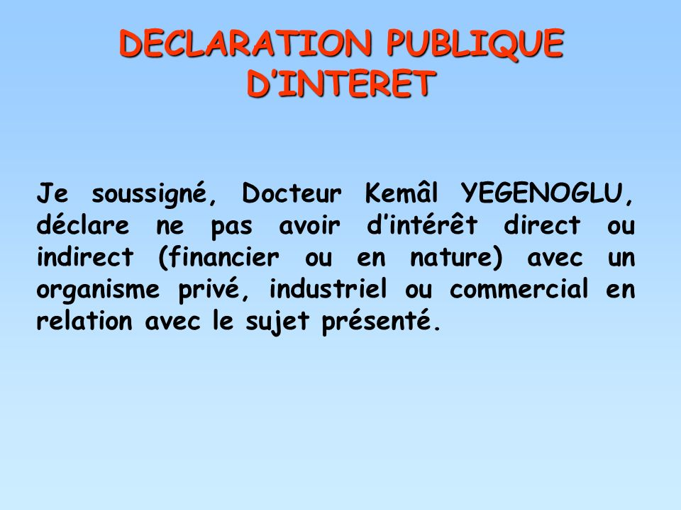 DECLARATION PUBLIQUE D'INTERET