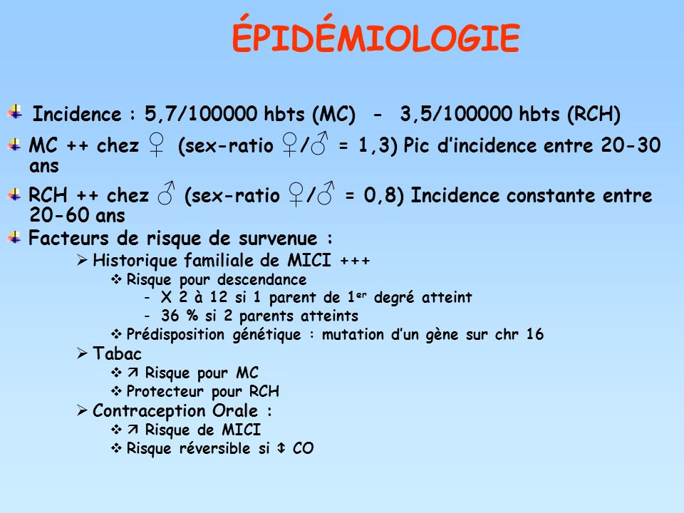 ÉPIDÉMIOLOGIE Incidence : 5,7/ hbts (MC) - 3,5/ hbts (RCH)