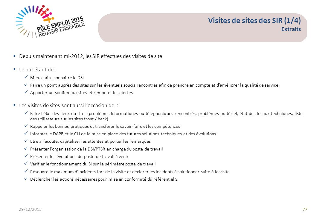 Visites de sites des SIR (1/4) Extraits