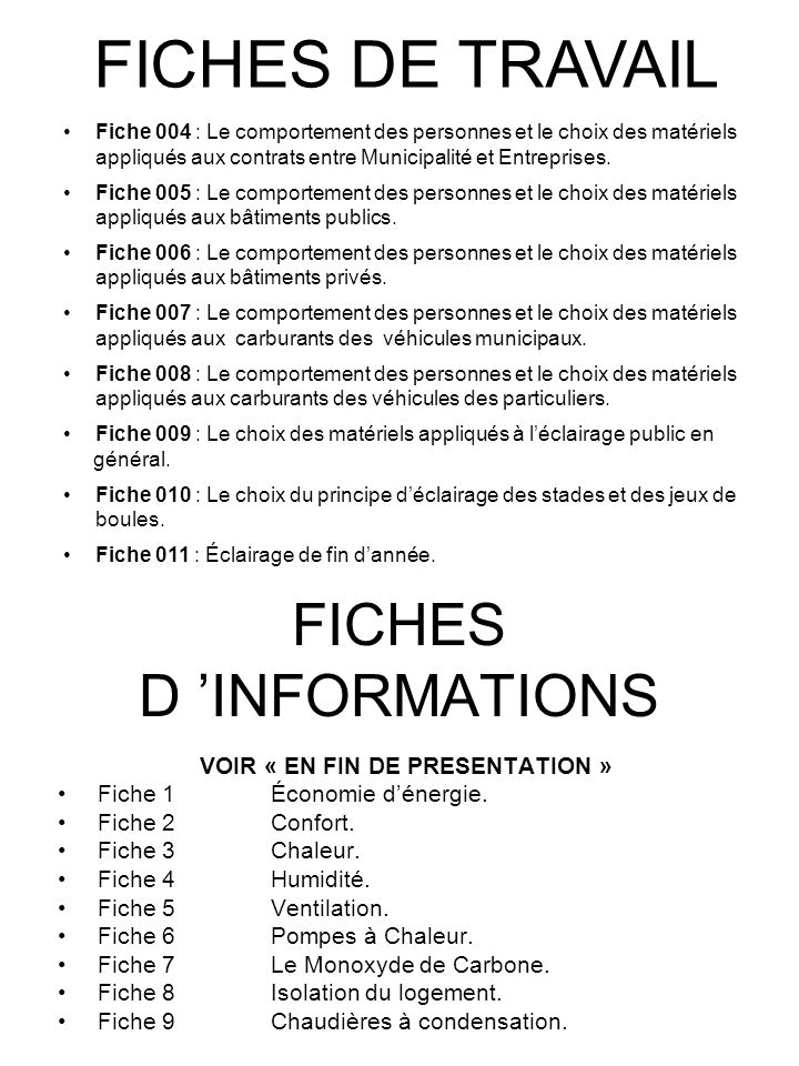 FICHES D 'INFORMATIONS