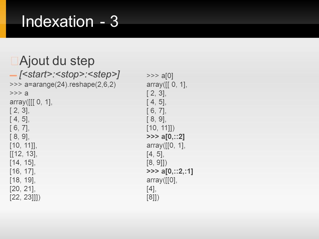 Indexation - 3 ▶Ajout du step