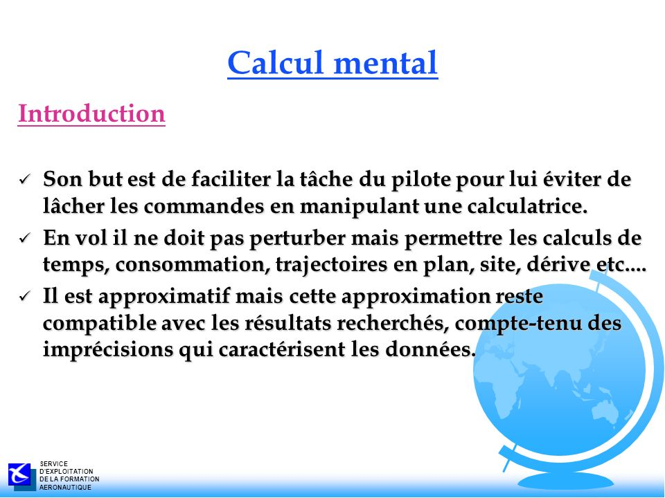 Calcul mental Introduction