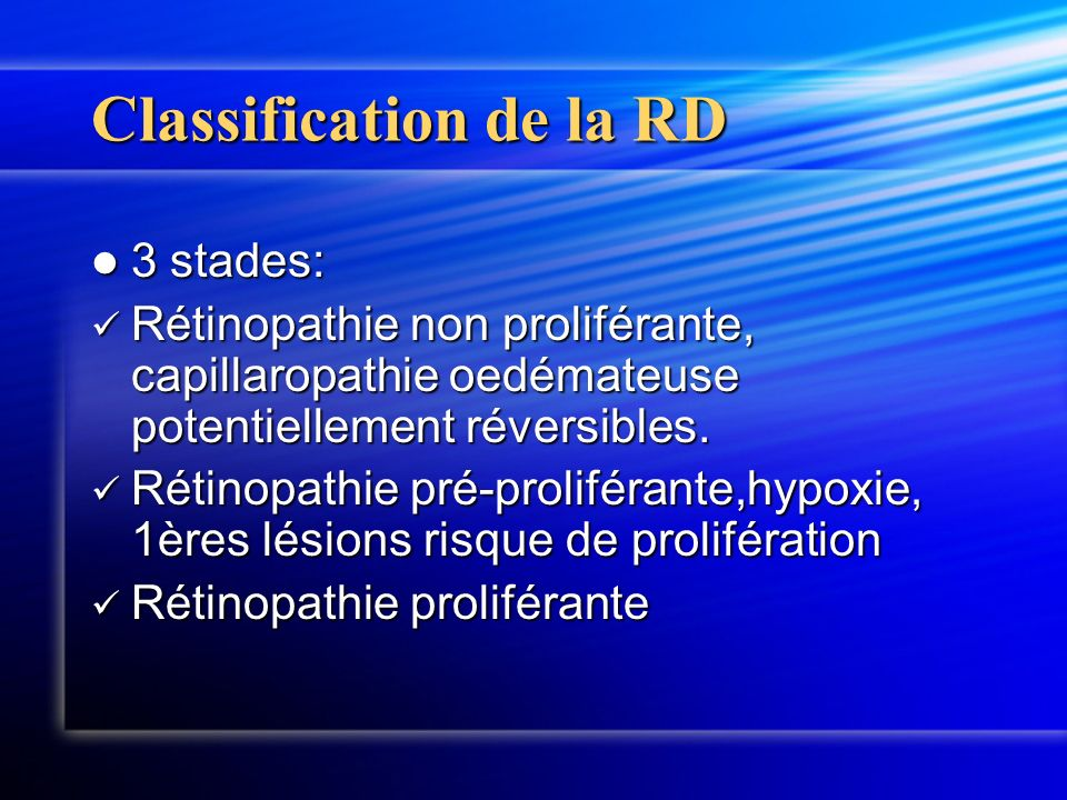 Classification de la RD