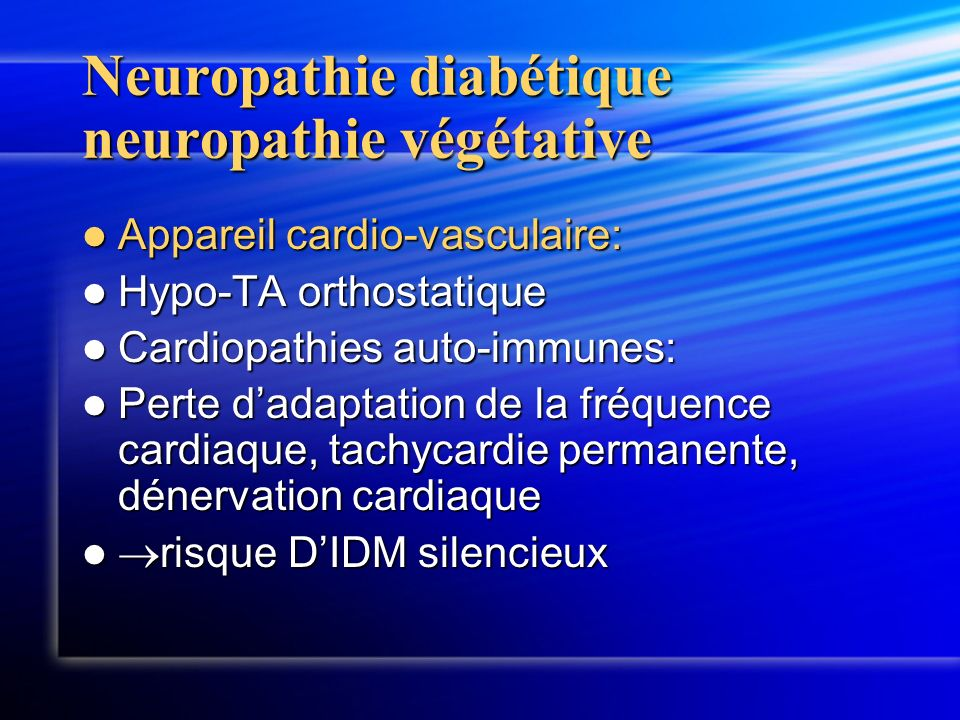 Neuropathie diabétique neuropathie végétative