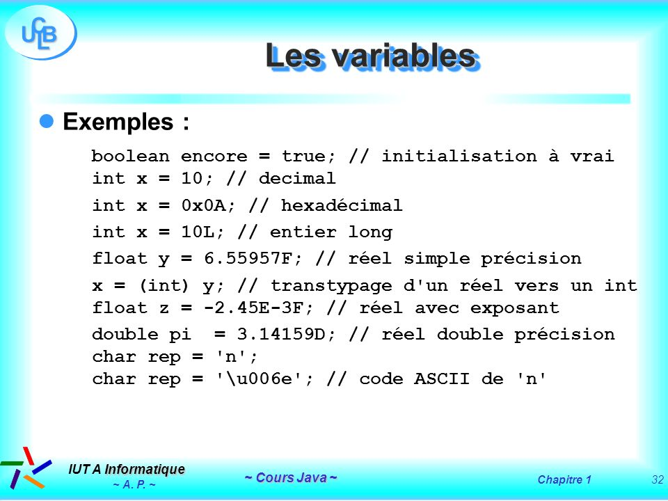 Les variables Exemples :