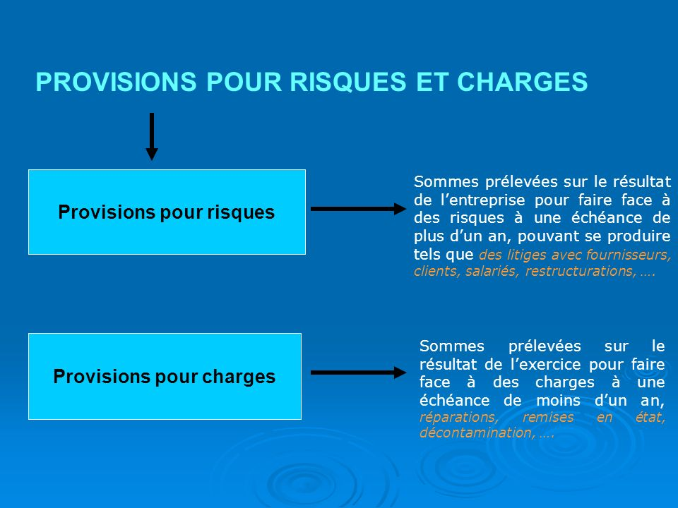 Provisions pour risques Provisions pour charges