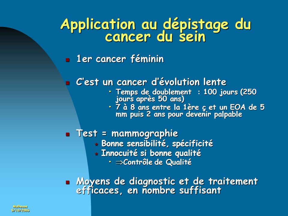 Application au dépistage du cancer du sein