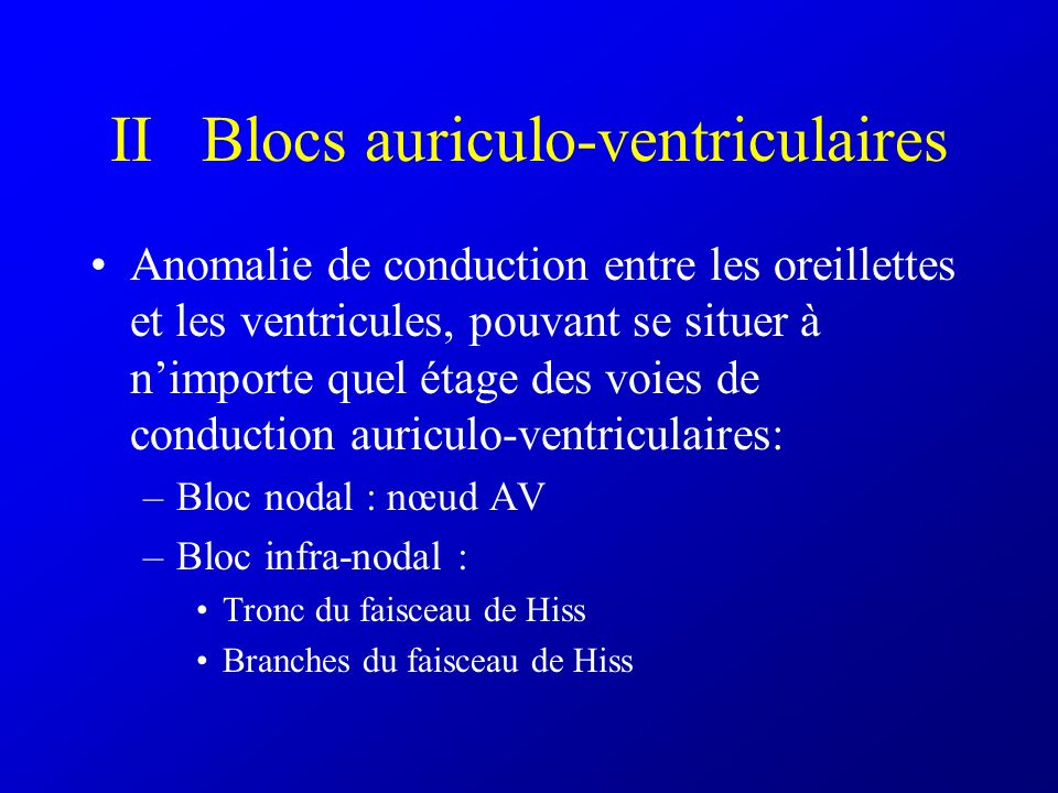 II Blocs auriculo-ventriculaires