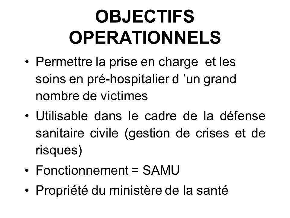 OBJECTIFS OPERATIONNELS
