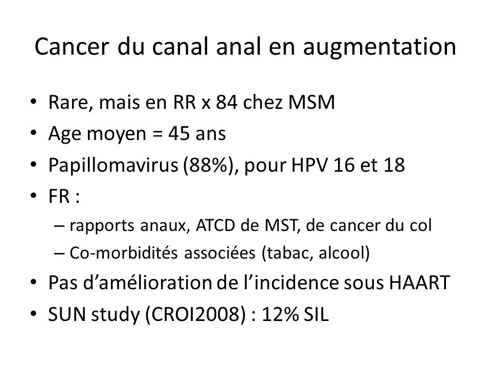 Cancer du canal anal en augmentation