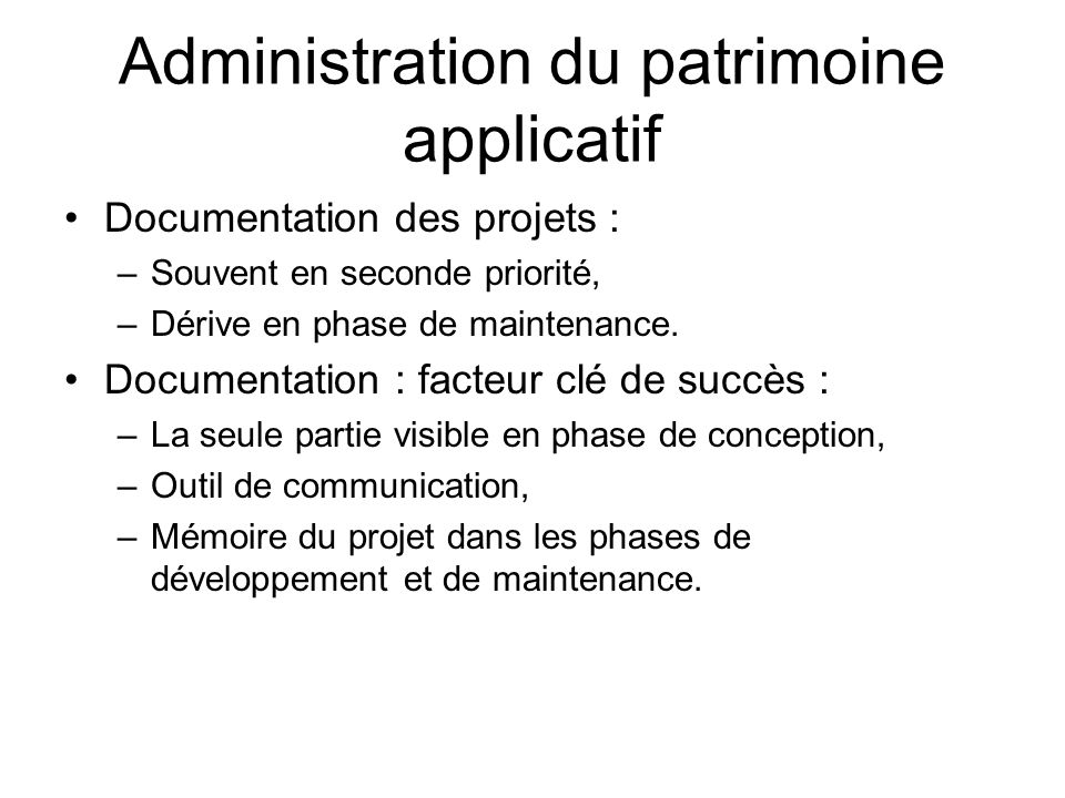 Administration du patrimoine applicatif