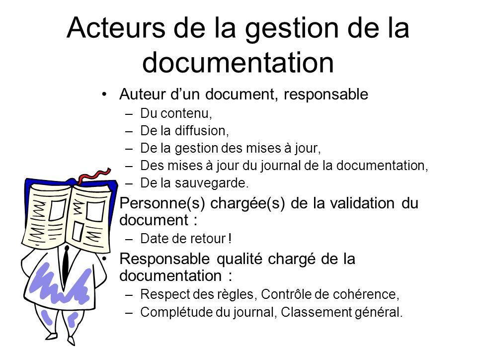 Acteurs de la gestion de la documentation