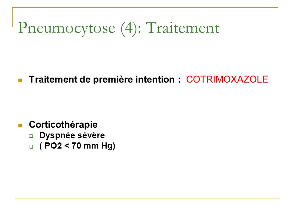 Pneumocytose (4): Traitement