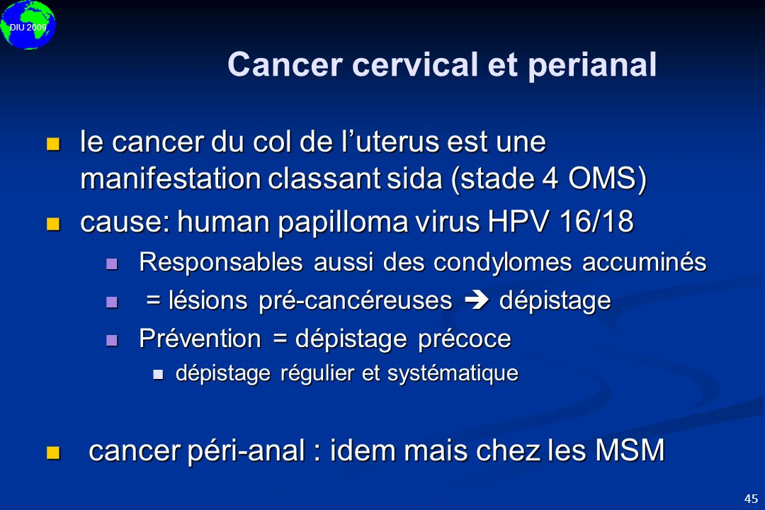 Cancer cervical et perianal