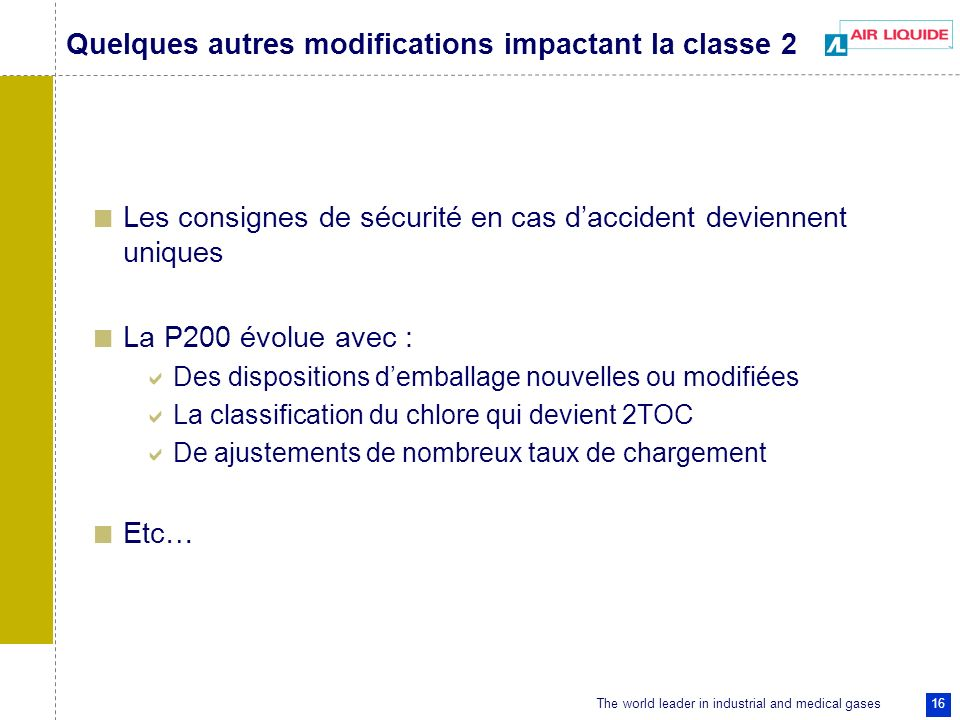 Quelques autres modifications impactant la classe 2
