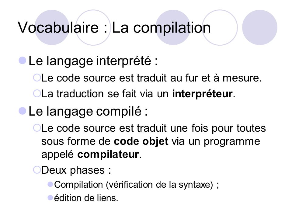 Vocabulaire : La compilation