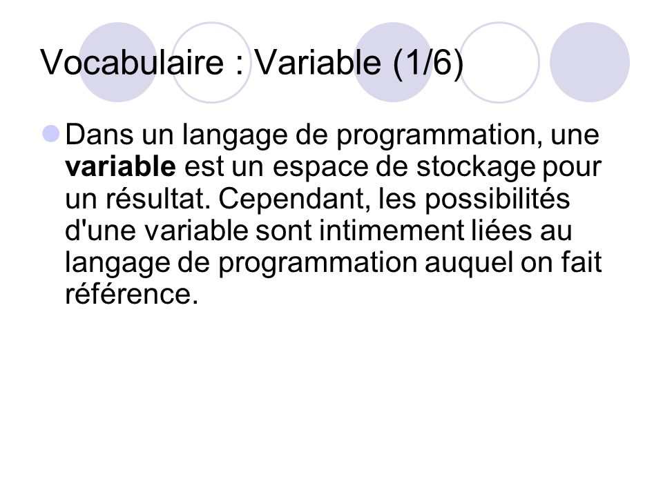 Vocabulaire : Variable (1/6)