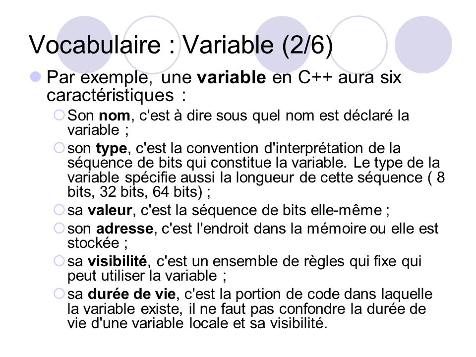 Vocabulaire : Variable (2/6)