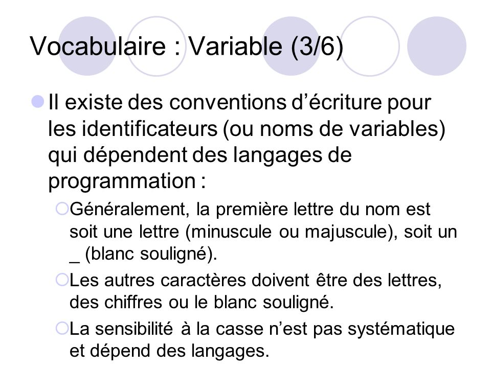 Vocabulaire : Variable (3/6)
