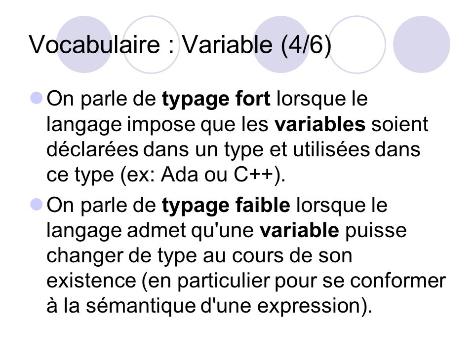 Vocabulaire : Variable (4/6)