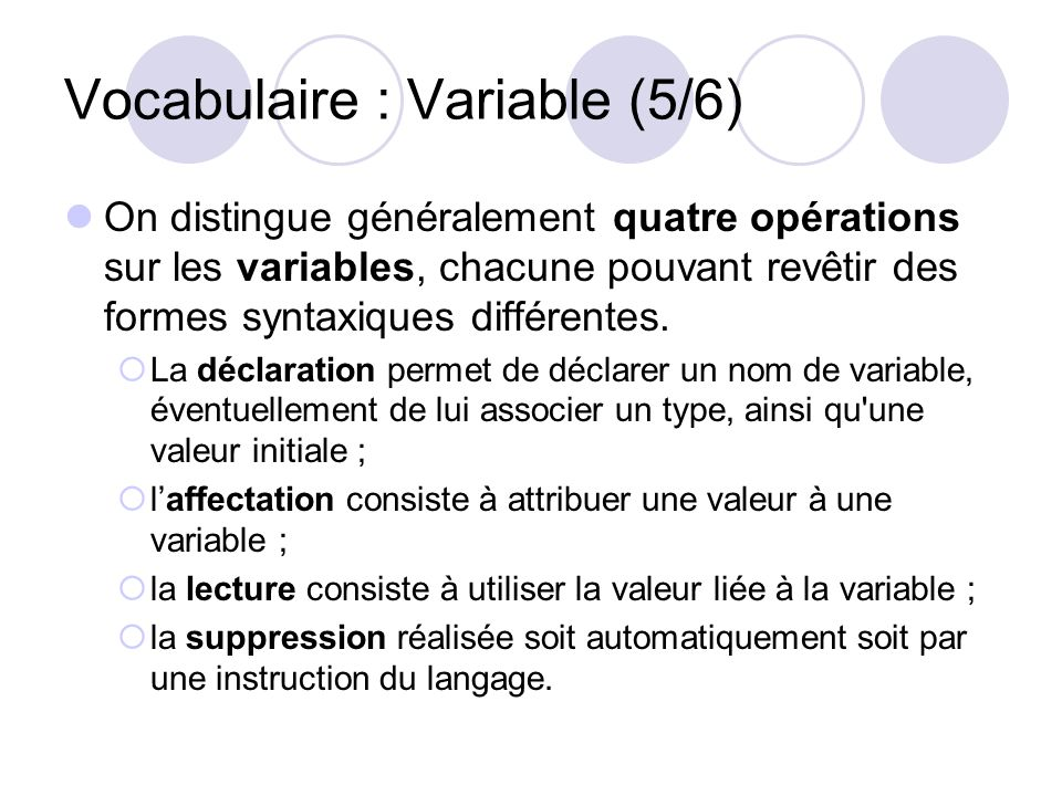 Vocabulaire : Variable (5/6)