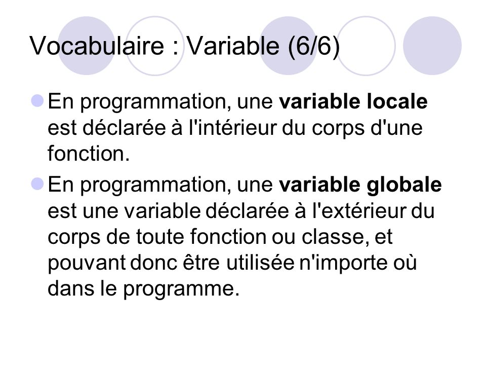 Vocabulaire : Variable (6/6)