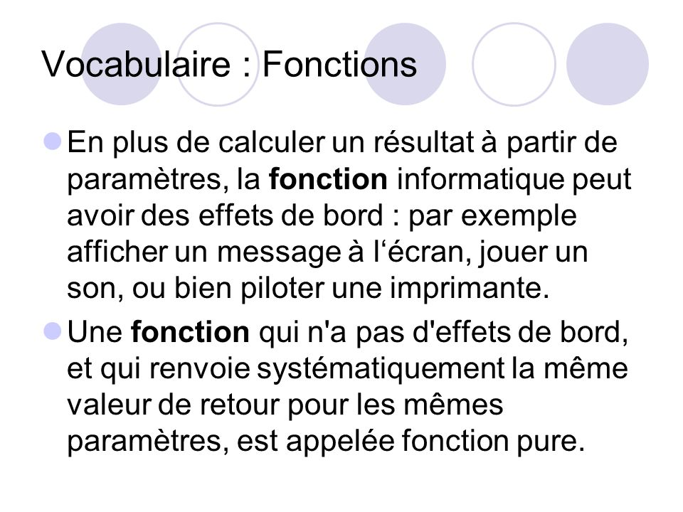 Vocabulaire : Fonctions