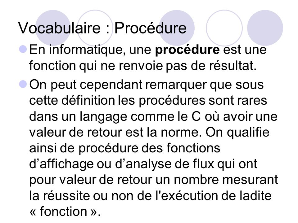 Vocabulaire : Procédure