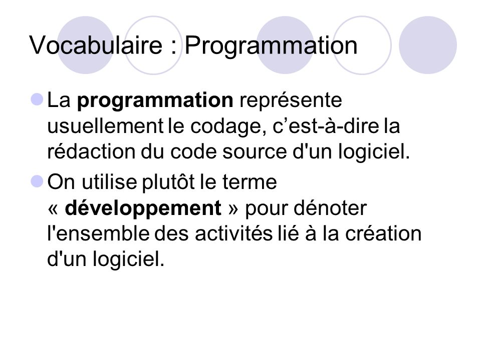 Vocabulaire : Programmation