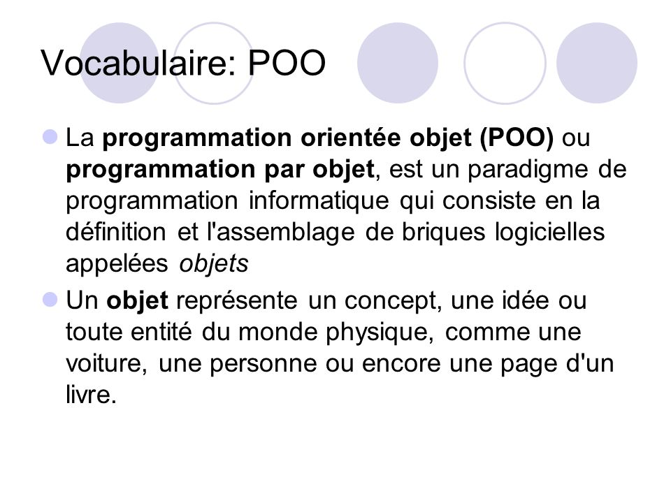 Vocabulaire: POO