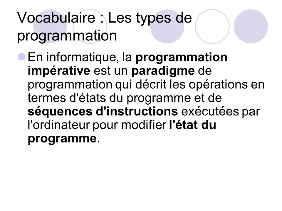 Vocabulaire : Les types de programmation