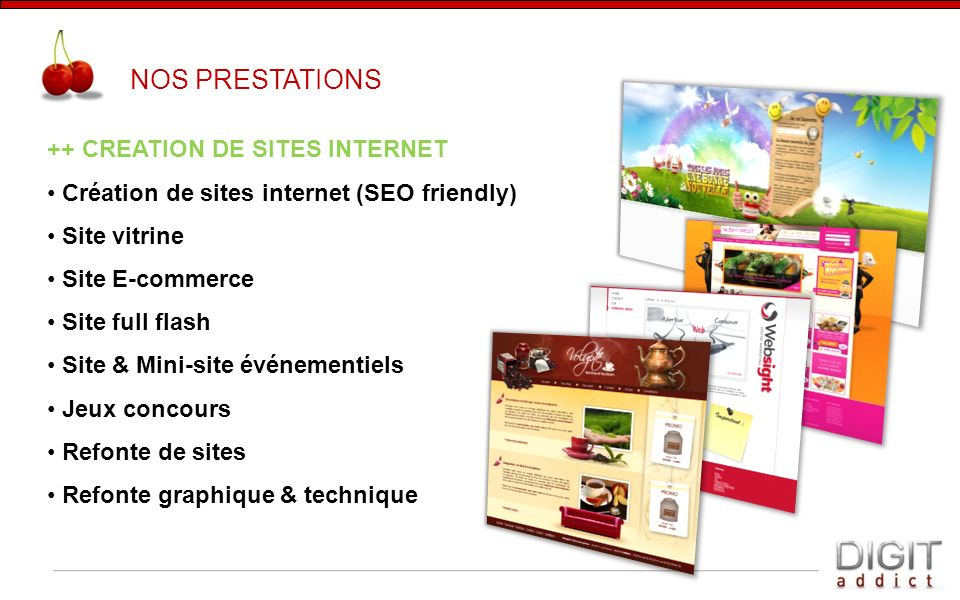 NOS PRESTATIONS ++ CREATION DE SITES INTERNET