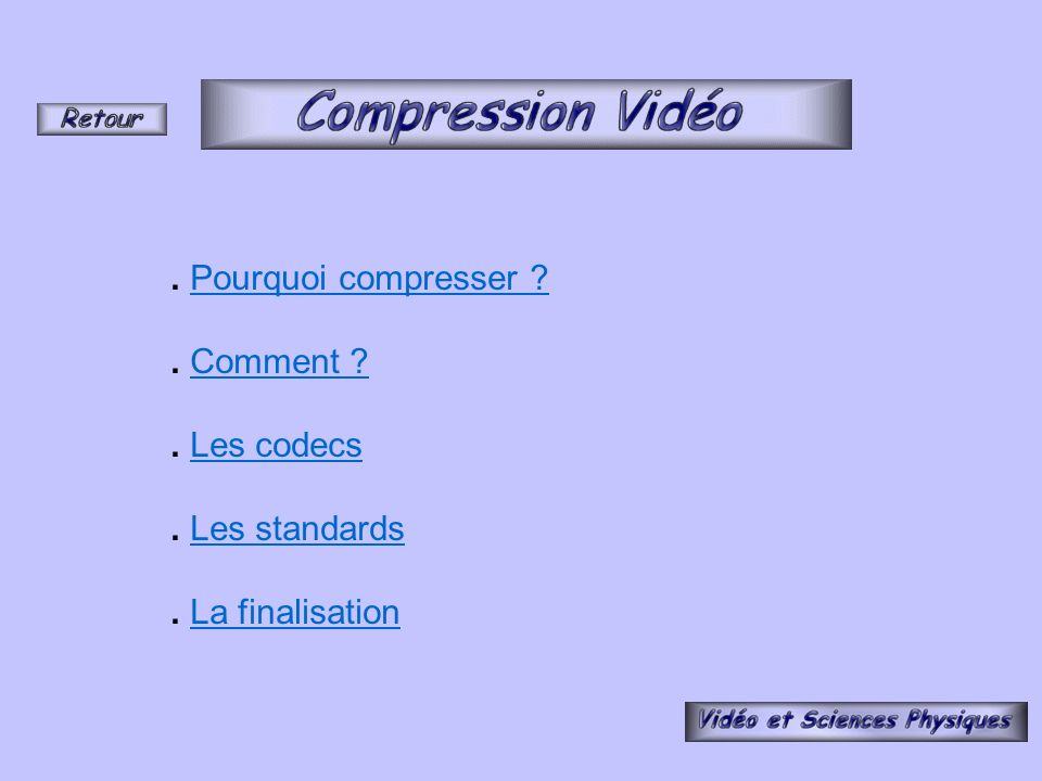 . Pourquoi compresser . Comment . Les codecs . Les standards . La finalisation