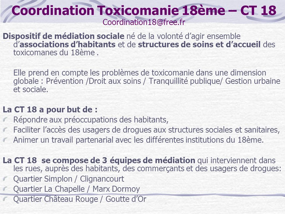 Coordination Toxicomanie 18ème – CT 18