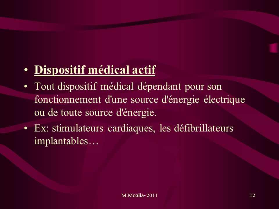 Dispositif médical actif