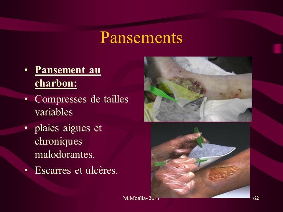 Pansements Pansement au charbon: Compresses de tailles variables