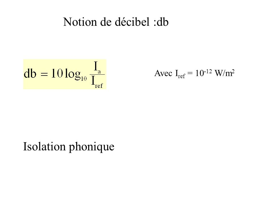 Notion de décibel :db Avec Iref = W/m2 Isolation phonique