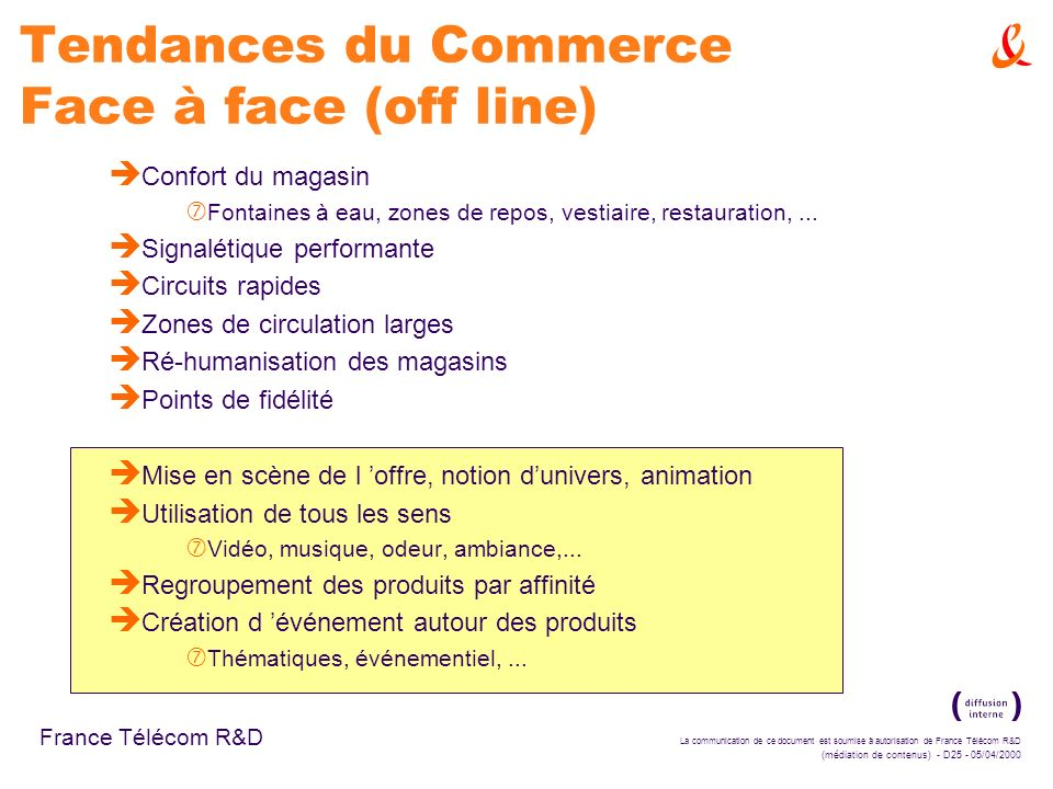 Tendances du Commerce Face à face (off line)