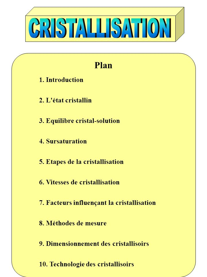 Plan CRISTALLISATION Plan 1. Introduction 2. L état cristallin