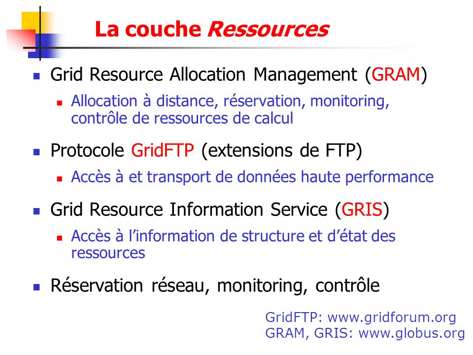 La couche Ressources Grid Resource Allocation Management (GRAM)